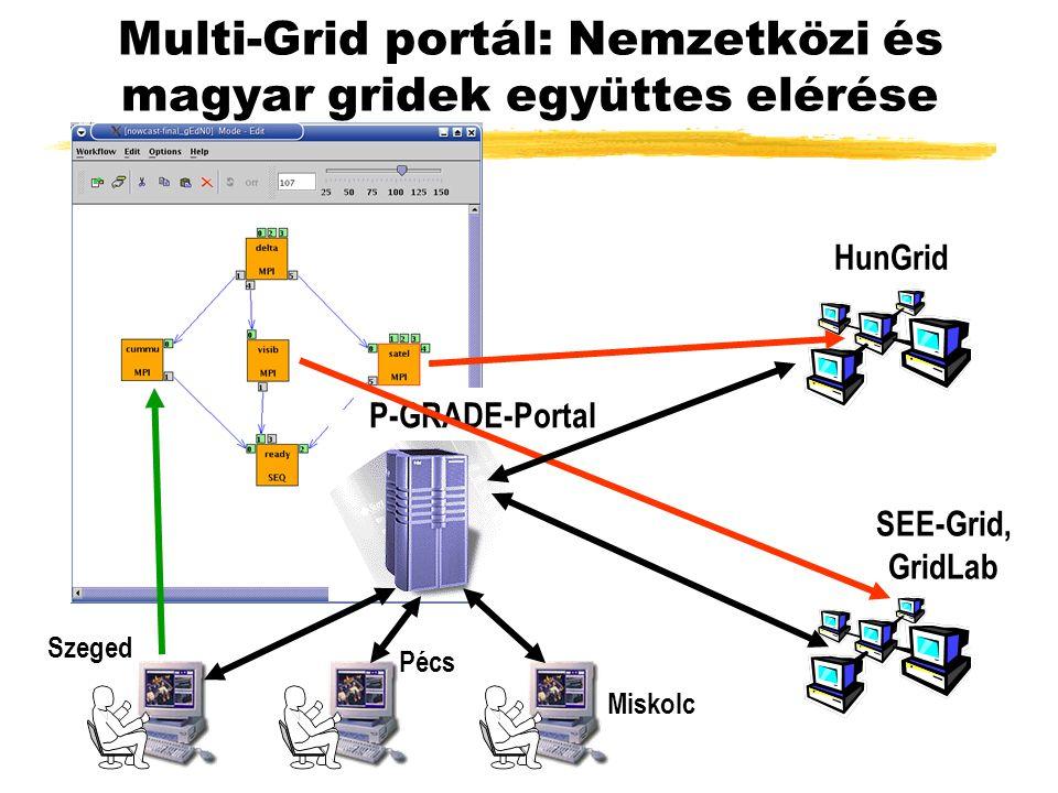 HunGrid SEE-Grid, GridLab P-GRADE-Portal Szeged Pécs Miskolc Multi-Grid portál: Nemzetközi és magyar gridek együttes elérése