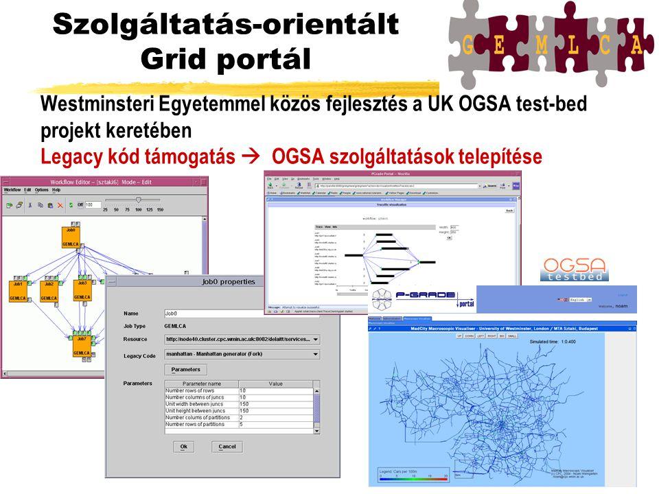Szolgáltatás-orientált Grid portál Westminsteri Egyetemmel közös fejlesztés a UK OGSA test-bed projekt keretében Legacy kód támogatás  OGSA szolgáltatások telepítése