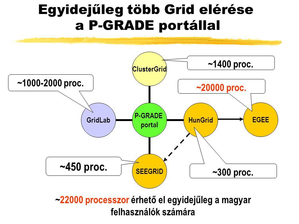 EGEE Egyidejűleg több Grid elérése a P-GRADE portállal ~450 proc.