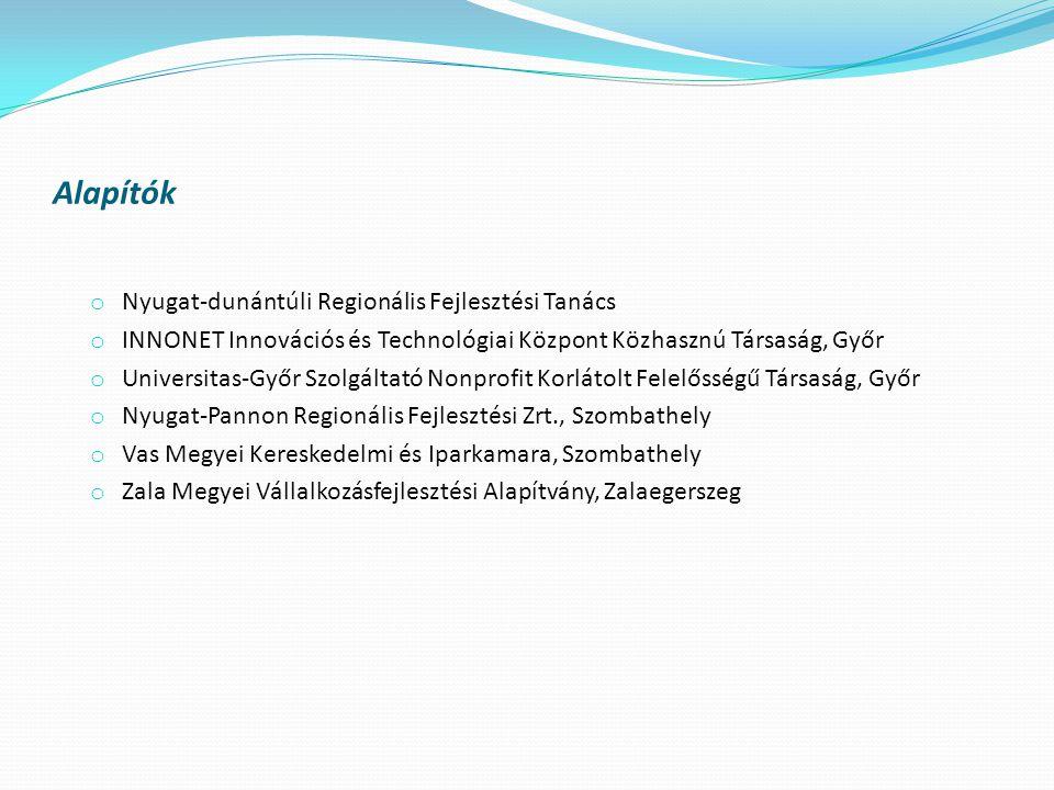 Alapítók o Nyugat-dunántúli Regionális Fejlesztési Tanács o INNONET Innovációs és Technológiai Központ Közhasznú Társaság, Győr o Universitas-Győr Szolgáltató Nonprofit Korlátolt Felelősségű Társaság, Győr o Nyugat-Pannon Regionális Fejlesztési Zrt., Szombathely o Vas Megyei Kereskedelmi és Iparkamara, Szombathely o Zala Megyei Vállalkozásfejlesztési Alapítvány, Zalaegerszeg