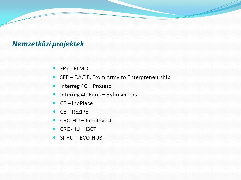 Nemzetközi projektek  FP7 - ELMO  SEE – F.A.T.E.