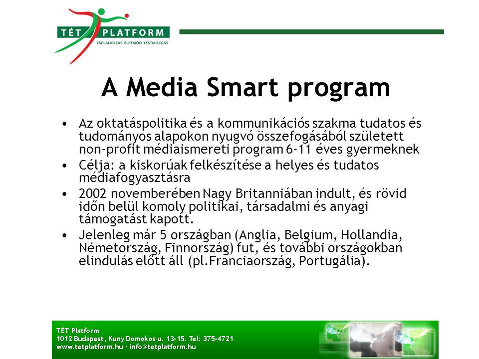 A Media Smart program •Az oktatáspolitika és a kommunikációs szakma tudatos és tudományos alapokon nyugvó összefogásából született non-profit médiaism