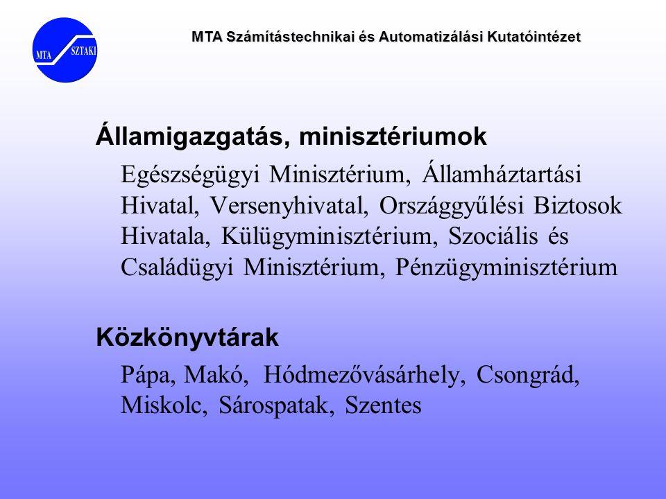 MTA Számítástechnikai és Automatizálási Kutatóintézet Államigazgatás, minisztériumok Egészségügyi Minisztérium, Államháztartási Hivatal, Versenyhivata