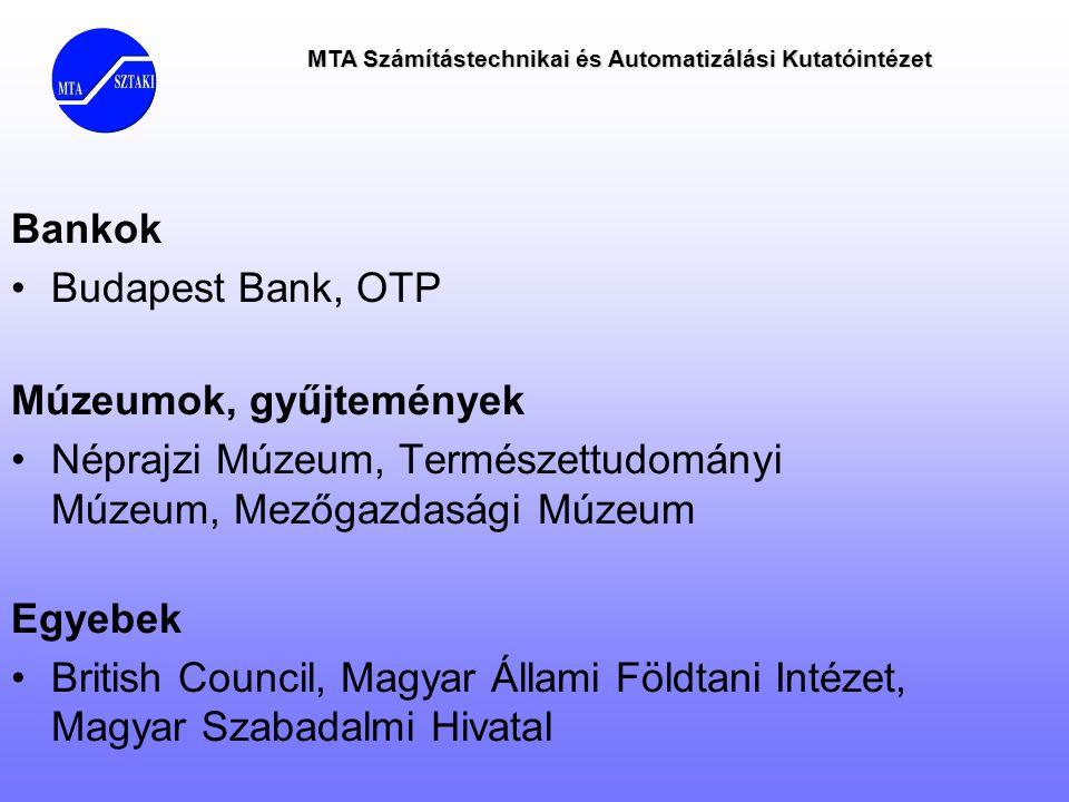 MTA Számítástechnikai és Automatizálási Kutatóintézet Bankok •Budapest Bank, OTP Múzeumok, gyűjtemények •Néprajzi Múzeum, Természettudományi Múzeum, M
