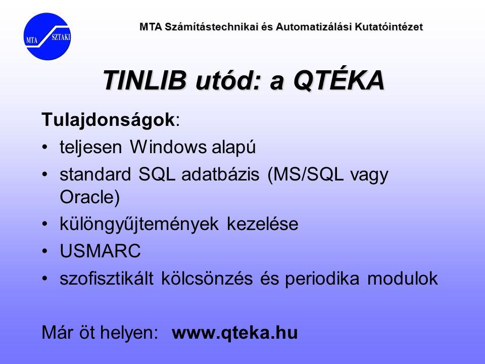 TINLIB utód: a QTÉKA Tulajdonságok: •teljesen Windows alapú •standard SQL adatbázis (MS/SQL vagy Oracle) •különgyűjtemények kezelése •USMARC •szofiszt