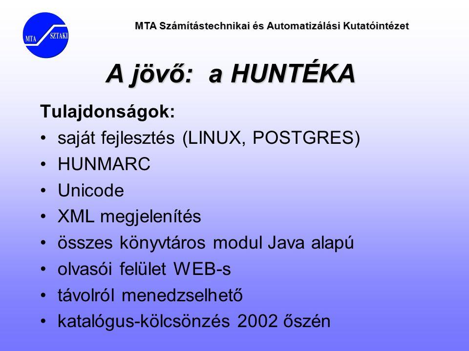 A jövő: a HUNTÉKA Tulajdonságok: •saját fejlesztés (LINUX, POSTGRES) •HUNMARC •Unicode •XML megjelenítés •összes könyvtáros modul Java alapú •olvasói