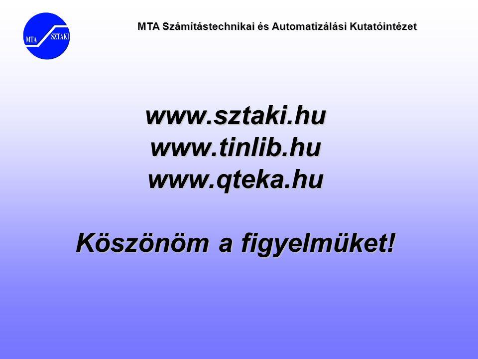 MTA Számítástechnikai és Automatizálási Kutatóintézet www.sztaki.hu www.tinlib.hu www.qteka.hu Köszönöm a figyelmüket!
