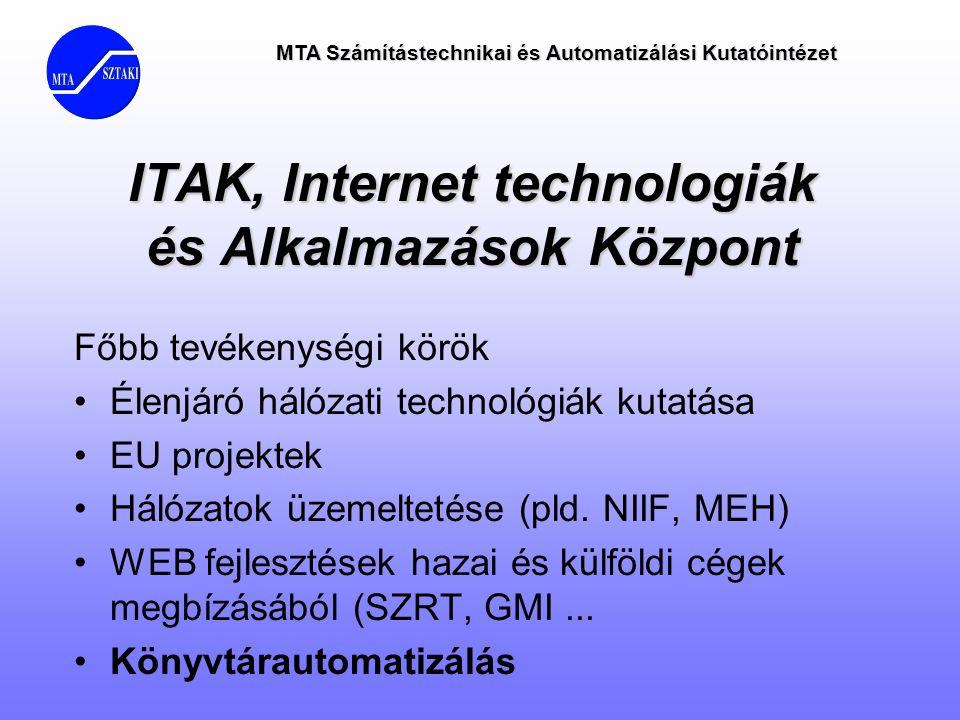 MTA Számítástechnikai és Automatizálási Kutatóintézet ITAK, Internet technologiák és Alkalmazások Központ Főbb tevékenységi körök •Élenjáró hálózati t