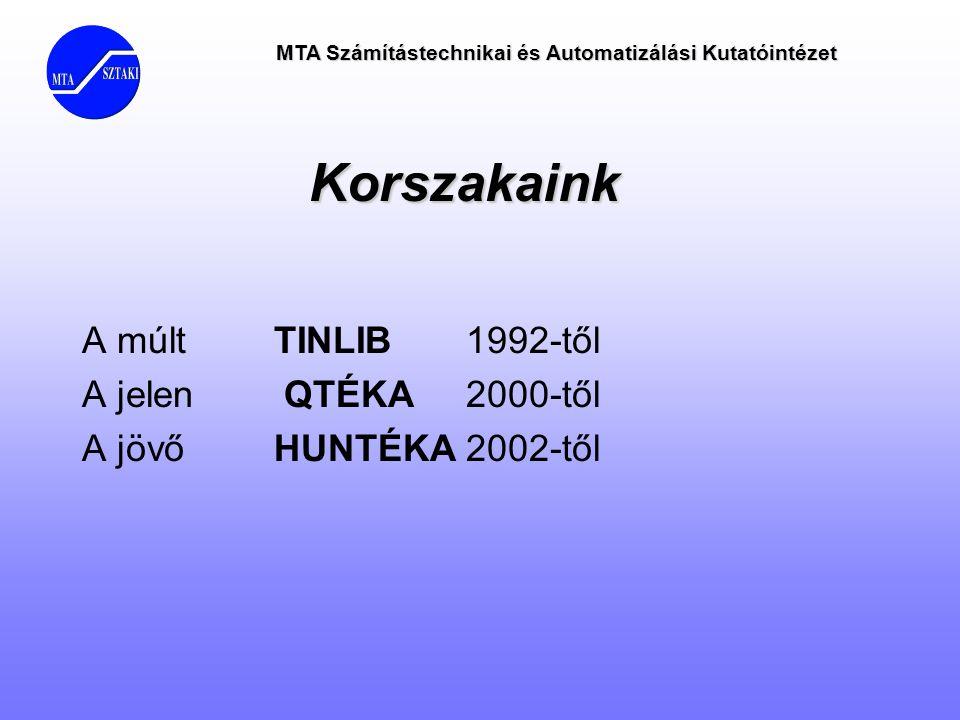 MTA Számítástechnikai és Automatizálási Kutatóintézet Korszakaink A múlt TINLIB 1992-től A jelen QTÉKA 2000-től A jövőHUNTÉKA2002-től