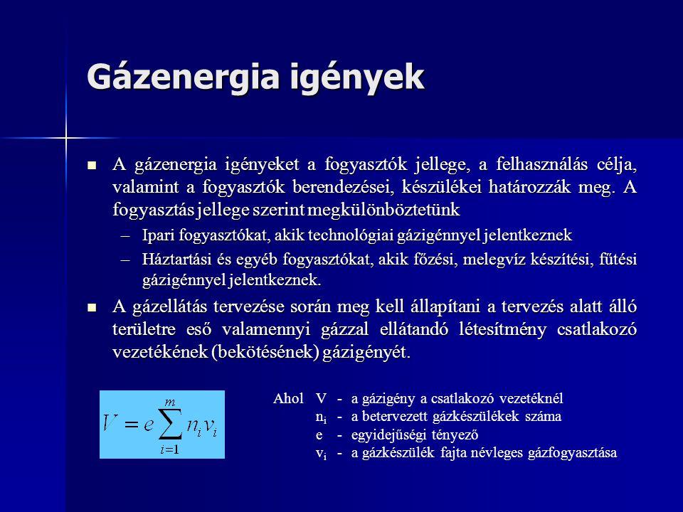 Gázenergia igények  A gázenergia igényeket a fogyasztók jellege, a felhasználás célja, valamint a fogyasztók berendezései, készülékei határozzák meg.