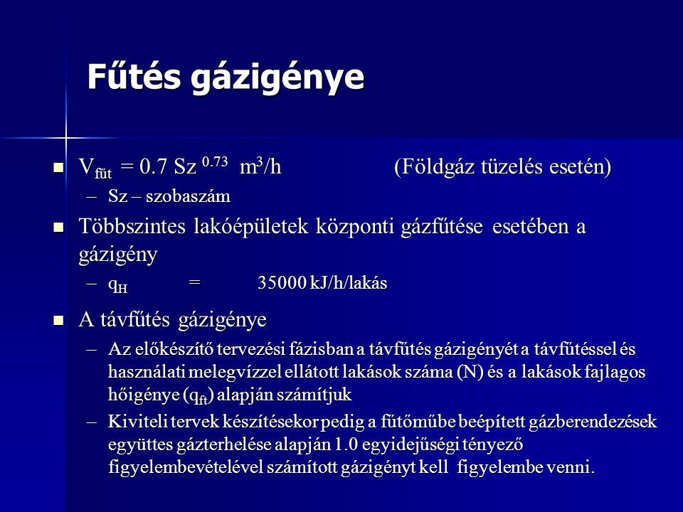 Fűtés gázigénye  V fűt = 0.7 Sz 0.73 m 3 /h(Földgáz tüzelés esetén) –Sz – szobaszám  Többszintes lakóépületek központi gázfűtése esetében a gázigény –q H =35000 kJ/h/lakás  A távfűtés gázigénye –Az előkészítő tervezési fázisban a távfűtés gázigényét a távfűtéssel és használati melegvízzel ellátott lakások száma (N) és a lakások fajlagos hőigénye (q ft ) alapján számítjuk –Kiviteli tervek készítésekor pedig a fűtőműbe beépített gázberendezések együttes gázterhelése alapján 1.0 egyidejűségi tényező figyelembevételével számított gázigényt kell figyelembe venni.