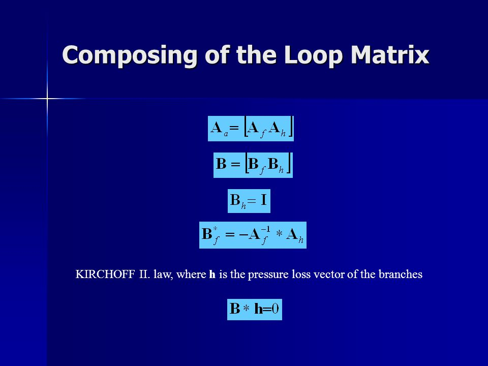 Composing of the Loop Matrix KIRCHOFF II. law, where h is the pressure loss vector of the branches