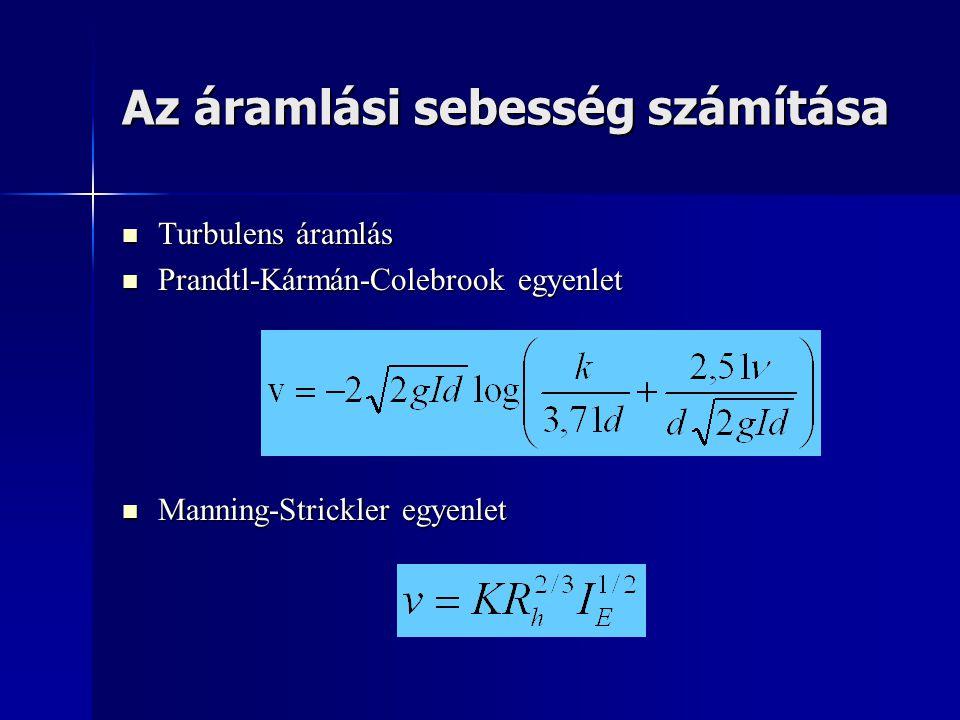 Az áramlási sebesség számítása  Turbulens áramlás  Prandtl-Kármán-Colebrook egyenlet  Manning-Strickler egyenlet