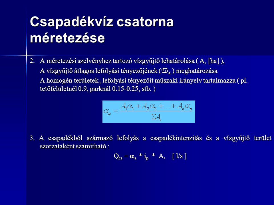Csapadékvíz csatorna méretezése 2.A méretezési szelvényhez tartozó vízgyűjtő lehatárolása ( A, [ha] ), A vízgyűjtő átlagos lefolyási tényezőjének (  a ) meghatározása A homogén területek i lefolyási tényezőit műszaki irányelv tartalmazza ( pl.