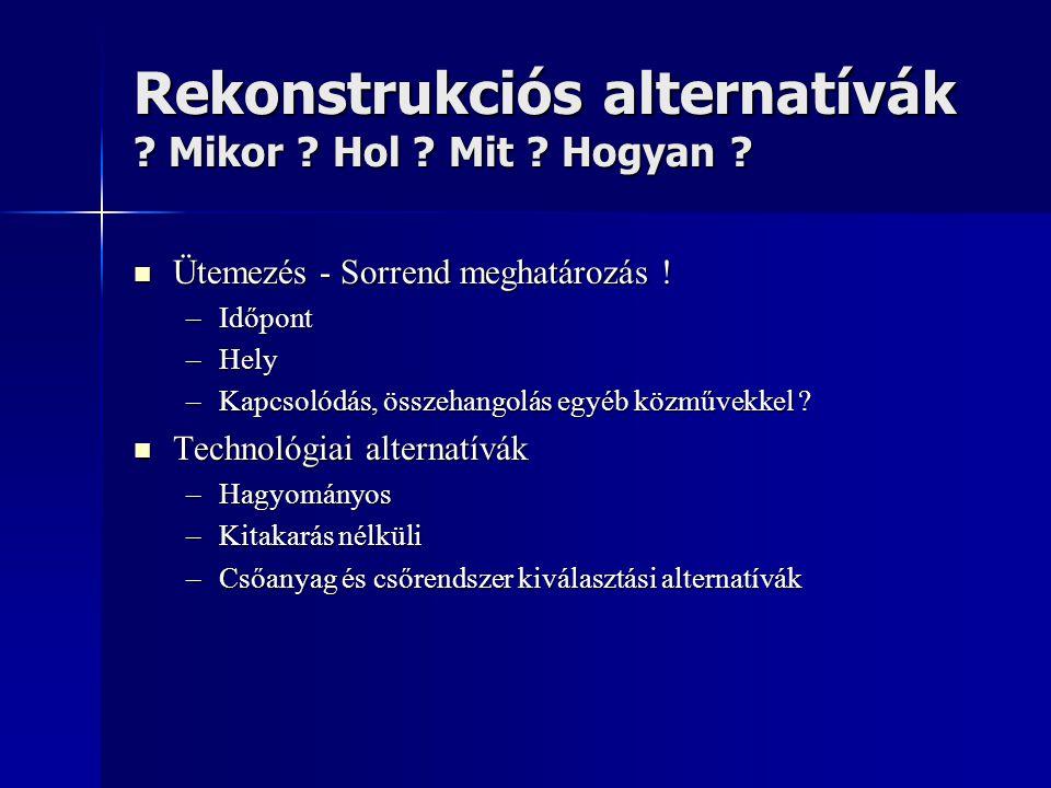 Rekonstrukciós alternatívák ? Mikor ? Hol ? Mit ? Hogyan ?  Ütemezés - Sorrend meghatározás ! –Időpont –Hely –Kapcsolódás, összehangolás egyéb közműv