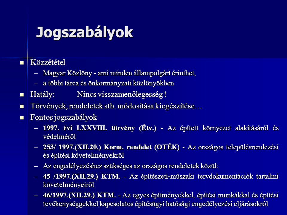 Jogszabályok  Közzététel –Magyar Közlöny - ami minden állampolgárt érinthet, –a többi tárca és önkormányzati közlönyökben  Hatály: Nincs visszamenől