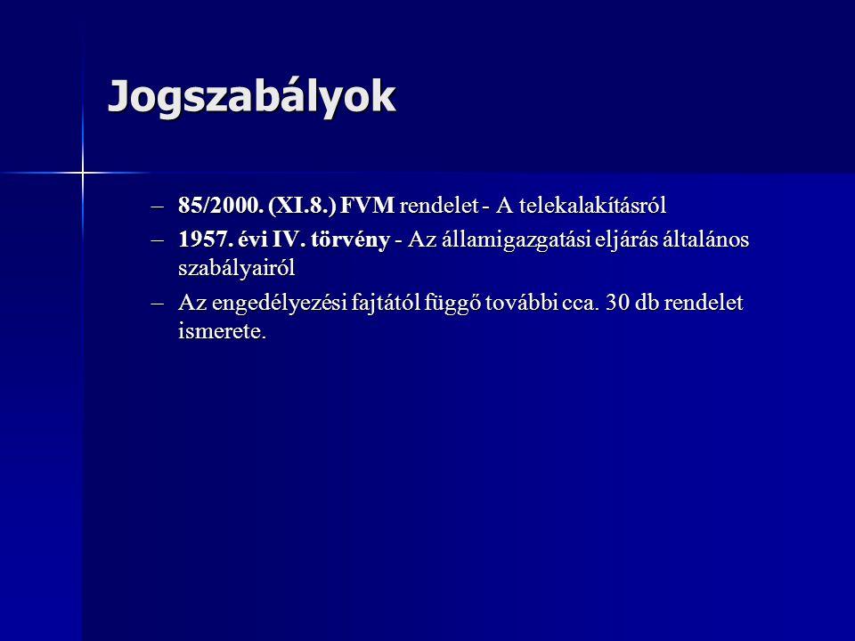 Jogszabályok –85/2000.(XI.8.) FVM rendelet - A telekalakításról –1957.