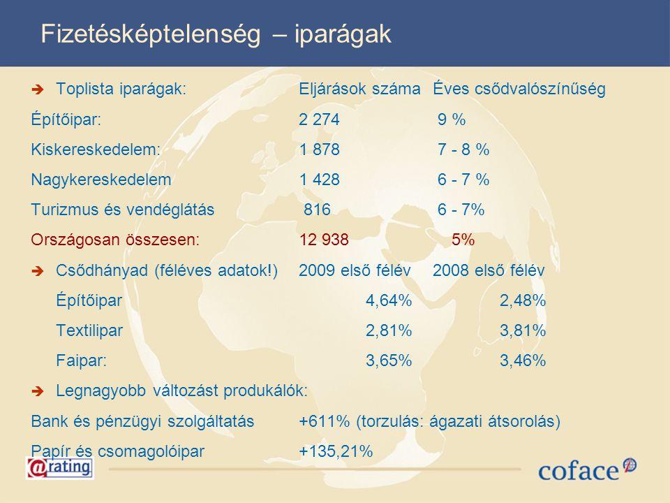 Fizetésképtelenség – iparágak  Toplista iparágak:Eljárások száma Éves csődvalószínűség Építőipar:2 274 9 % Kiskereskedelem:1 878 7 - 8 % Nagykeresked
