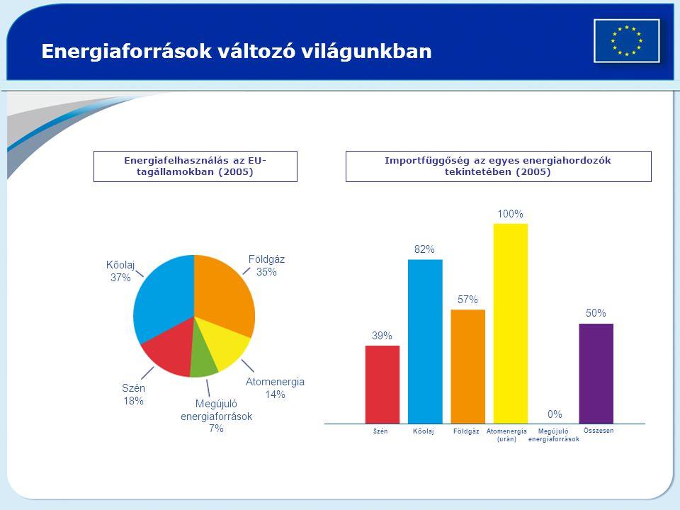 Energiaforrások változó világunkban Energiafelhasználás az EU- tagállamokban (2005) Importfüggőség az egyes energiahordozók tekintetében (2005) Kőolaj 37% Földgáz 35% Atomenergia 14% Szén 18% Megújuló energiaforrások 7% 39% 82% 57% 100% 50% KőolajSzénFöldgázAtomenergia (urán) Megújuló energiaforrások Összesen 0%