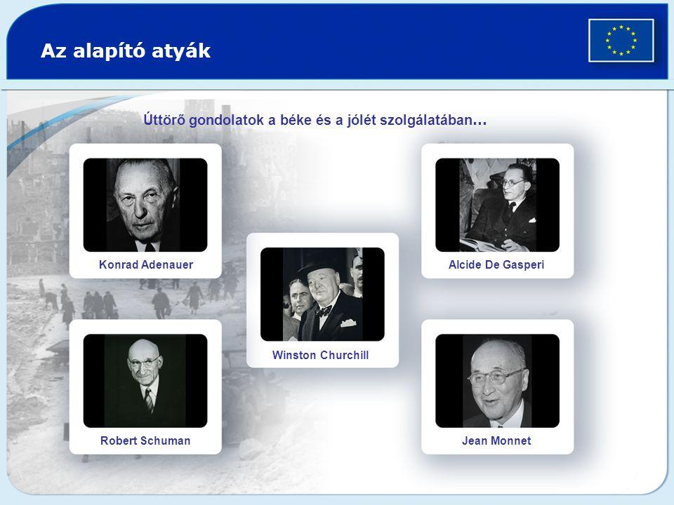 Az alapító atyák Úttörő gondolatok a béke és a jólét szolgálatában … Konrad Adenauer Robert Schuman Winston Churchill Alcide De Gasperi Jean Monnet
