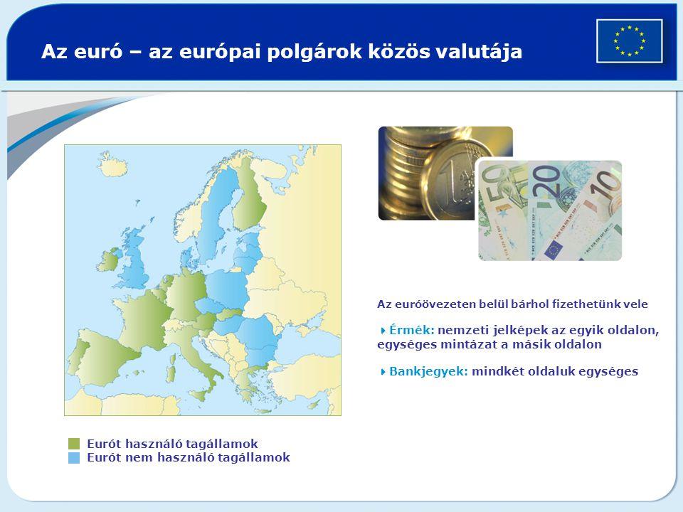 Az euró – az európai polgárok közös valutája Eurót használó tagállamok Eurót nem használó tagállamok Az euróövezeten belül bárhol fizethetünk vele  Érmék: nemzeti jelképek az egyik oldalon, egységes mintázat a másik oldalon  Bankjegyek: mindkét oldaluk egységes