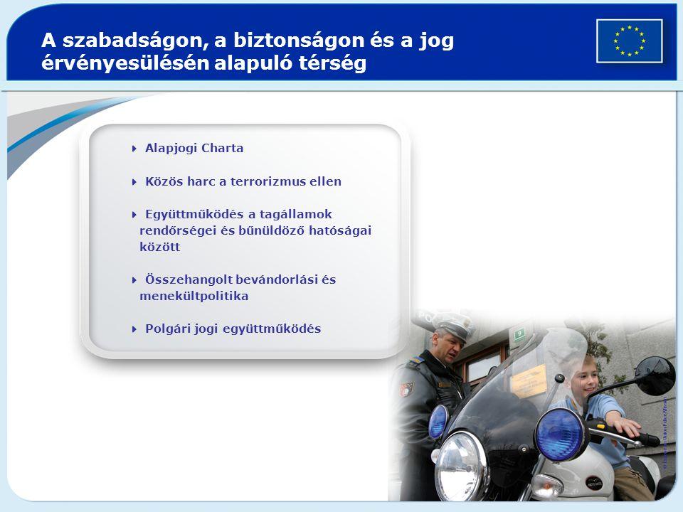 A szabadságon, a biztonságon és a jog érvényesülésén alapuló térség  Alapjogi Charta  Közös harc a terrorizmus ellen  Együttműködés a tagállamok rendőrségei és bűnüldöző hatóságai között  Összehangolt bevándorlási és menekültpolitika  Polgári jogi együttműködés © European Union Police Mission
