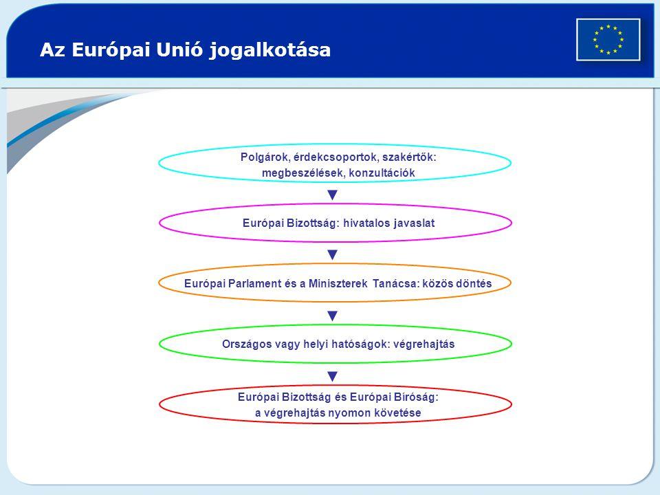 Az Európai Unió jogalkotása Polgárok, érdekcsoportok, szakértők: megbeszélések, konzultációk Európai Bizottság: hivatalos javaslat Európai Parlament és a Miniszterek Tanácsa: közös döntés Európai Bizottság és Európai Bíróság: a végrehajtás nyomon követése Országos vagy helyi hatóságok: végrehajtás