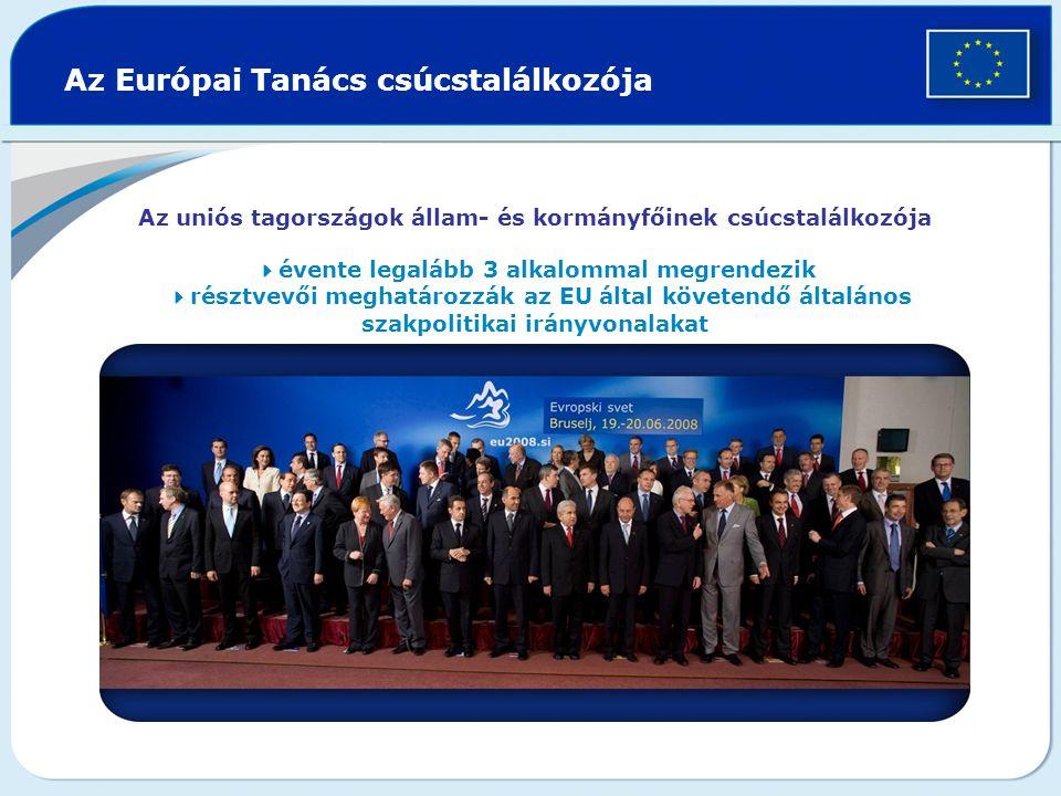 Az Európai Tanács csúcstalálkozója Az uniós tagországok állam- és kormányfőinek csúcstalálkozója  évente legalább 3 alkalommal megrendezik  résztvevői meghatározzák az EU által követendő általános szakpolitikai irányvonalakat