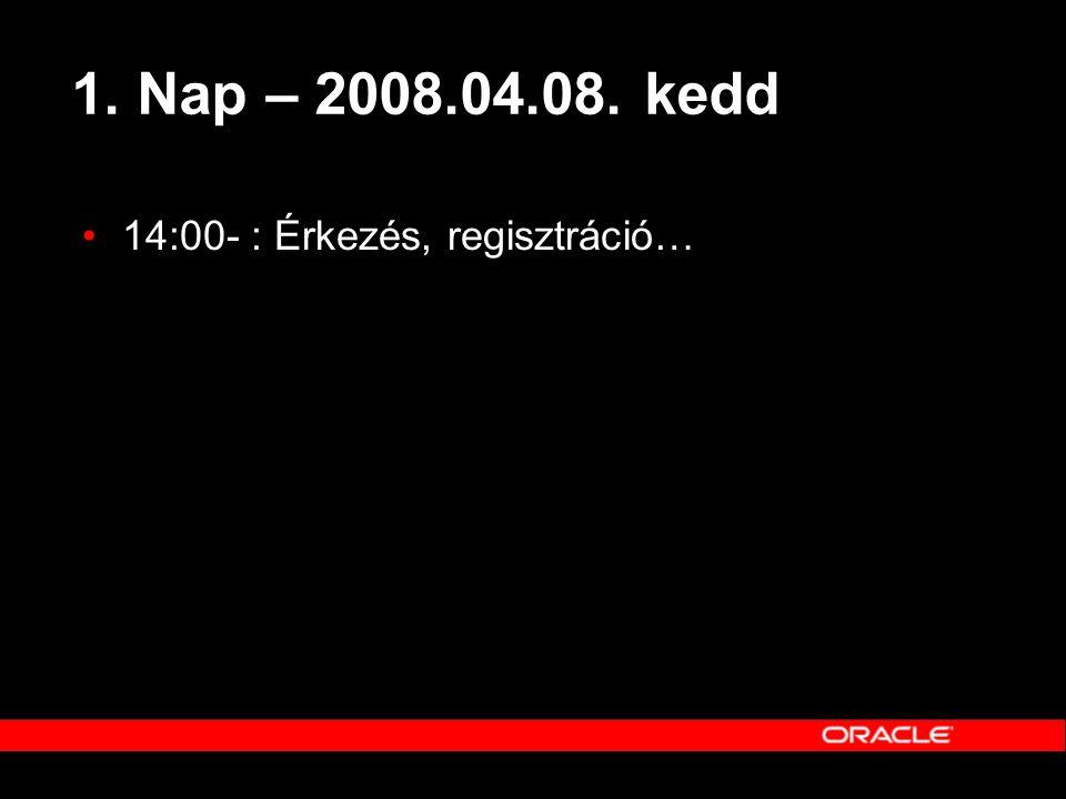 1. Nap – 2008.04.08. kedd •14:00- : Érkezés, regisztráció…