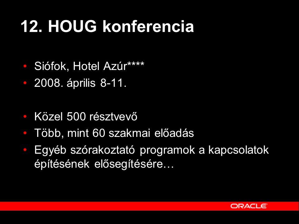 12. HOUG konferencia •Siófok, Hotel Azúr**** •2008. április 8-11. •Közel 500 résztvevő •Több, mint 60 szakmai előadás •Egyéb szórakoztató programok a