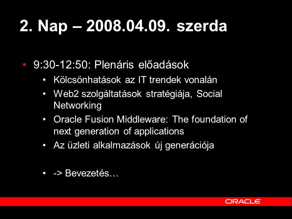 2. Nap – 2008.04.09. szerda •9:30-12:50: Plenáris előadások •Kölcsönhatások az IT trendek vonalán •Web2 szolgáltatások stratégiája, Social Networking