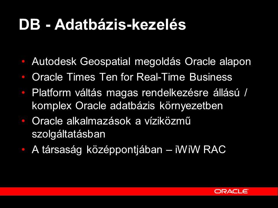 DB - Adatbázis-kezelés •Autodesk Geospatial megoldás Oracle alapon •Oracle Times Ten for Real-Time Business •Platform váltás magas rendelkezésre állás