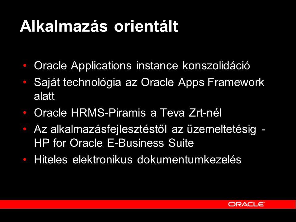 Alkalmazás orientált •Oracle Applications instance konszolidáció •Saját technológia az Oracle Apps Framework alatt •Oracle HRMS-Piramis a Teva Zrt-nél