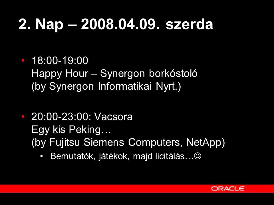 2. Nap – 2008.04.09. szerda •18:00-19:00 Happy Hour – Synergon borkóstoló (by Synergon Informatikai Nyrt.) •20:00-23:00: Vacsora Egy kis Peking… (by F