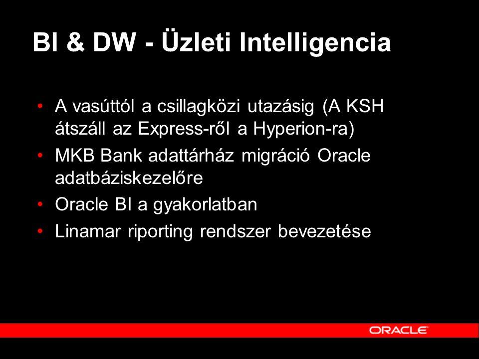 BI & DW - Üzleti Intelligencia •A vasúttól a csillagközi utazásig (A KSH átszáll az Express-ről a Hyperion-ra) •MKB Bank adattárház migráció Oracle ad