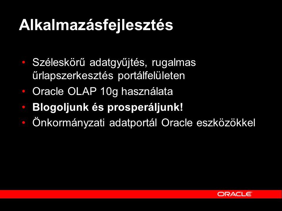 Alkalmazásfejlesztés •Széleskörű adatgyűjtés, rugalmas űrlapszerkesztés portálfelületen •Oracle OLAP 10g használata •Blogoljunk és prosperáljunk! •Önk