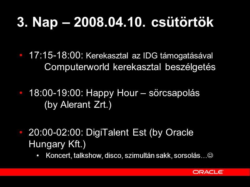 3. Nap – 2008.04.10. csütörtök •17:15-18:00: Kerekasztal az IDG támogatásával Computerworld kerekasztal beszélgetés •18:00-19:00: Happy Hour – sörcsap