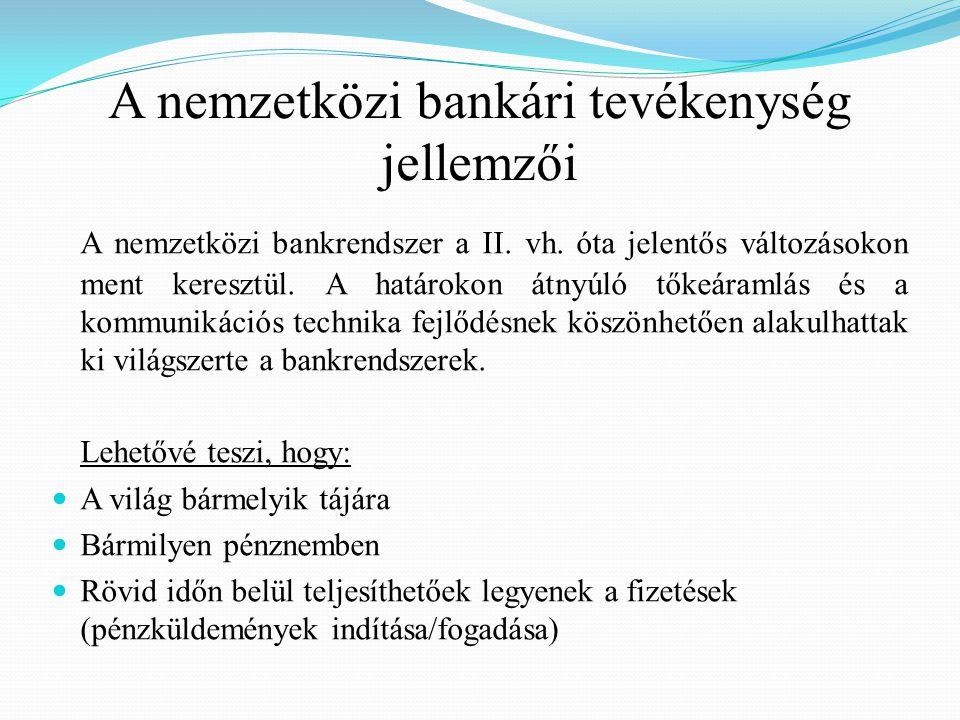 A pénzügyi tranzakciók lebonyolítása többféle formában valósulhat meg:  Tulajdoni összefonódás révén (bankokon belül)  Üzleti kapcsolat formájában (bankok között) A tulajdoni összefonódás nélkül a bankok közötti együttműködés eltérő mélységű:  Vannak, akik csak üzenettovábbító (postás) szerepet vállalnak  Míg más bankok (levelező bankok) hajlandóak nostro számlát vezeti  Szorosabb együttműködés esetén a bankok egy-egy naos technikai hitelt is nyújtanak egymásnak  Az is előfordulhat, hogy a felkért bank semminemű együttműködésre nem hajlandó