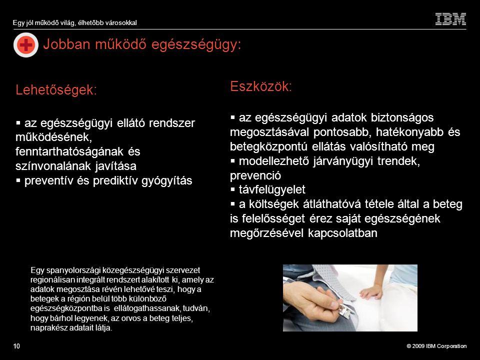 © 2009 IBM Corporation Egy jól működő világ, élhetőbb városokkal 10 Jobban működő egészségügy: Egy spanyolországi közegészségügyi szervezet regionális