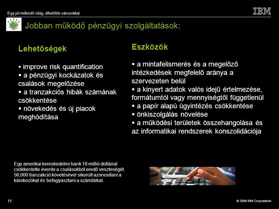 © 2009 IBM Corporation Egy jól működő világ, élhetőbb városokkal 11 Jobban működő pénzügyi szolgáltatások: Eszközök  a mintafelismerés és a megelőző