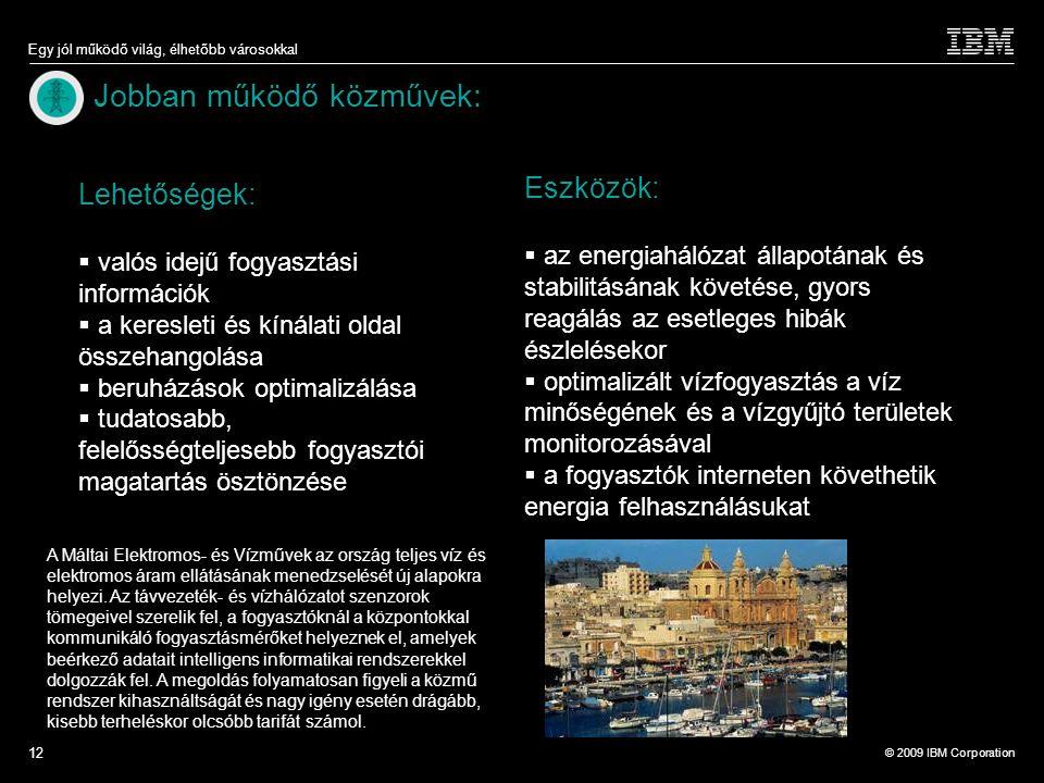 © 2009 IBM Corporation Egy jól működő világ, élhetőbb városokkal 12 Jobban működő közművek: A Máltai Elektromos- és Vízművek az ország teljes víz és elektromos áram ellátásának menedzselését új alapokra helyezi.