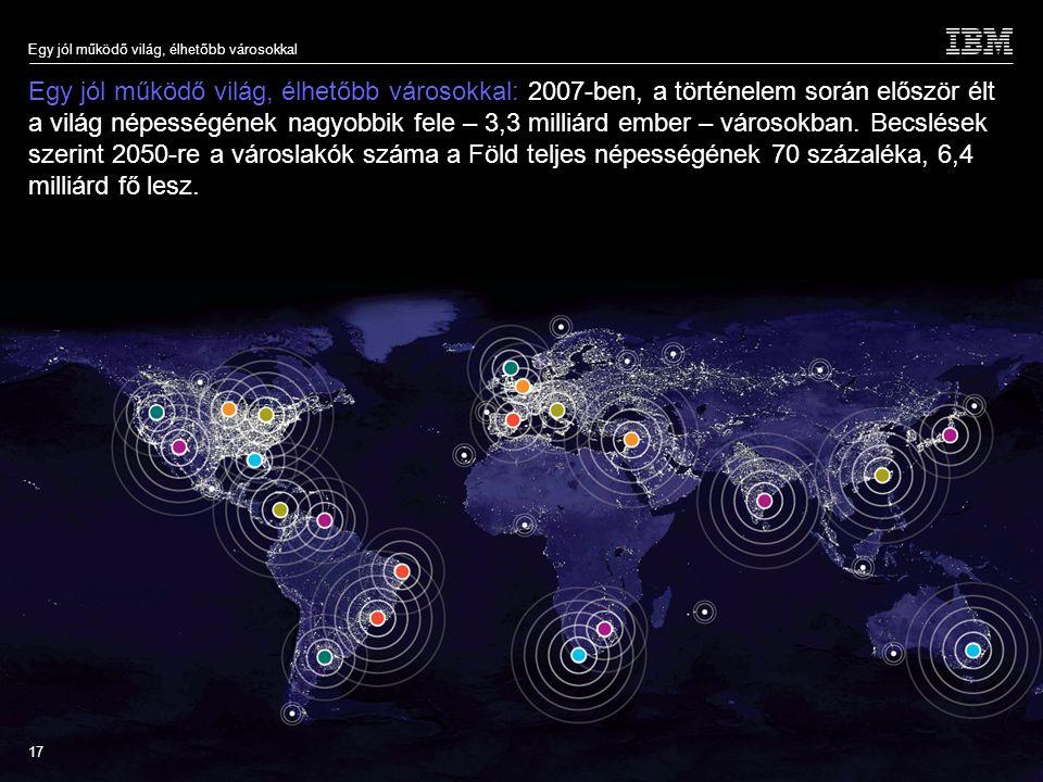 © 2009 IBM Corporation Egy jól működő világ, élhetőbb városokkal 17 Egy jól működő világ, élhetőbb városokkal: 2007-ben, a történelem során először élt a világ népességének nagyobbik fele – 3,3 milliárd ember – városokban.