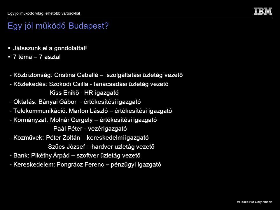 © 2009 IBM Corporation Egy jól működő világ, élhetőbb városokkal Egy jól működő Budapest?  Játsszunk el a gondolattal!  7 téma – 7 asztal - Közbizto
