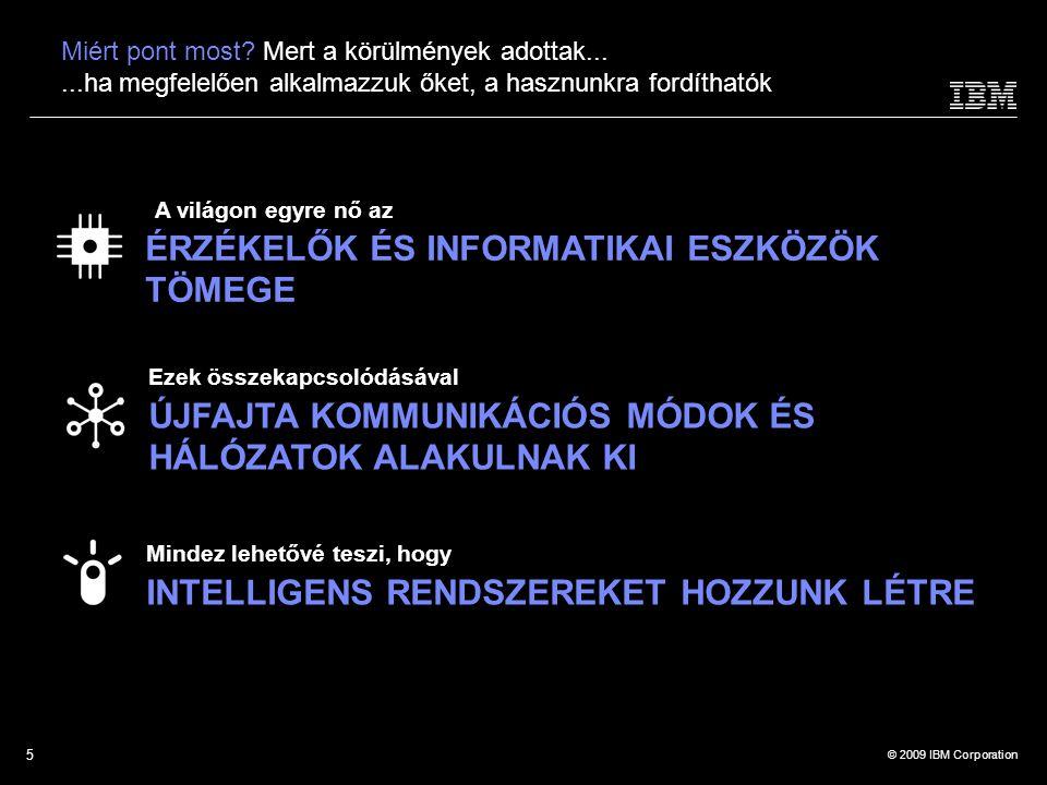 © 2009 IBM Corporation Ezek összekapcsolódásával ÚJFAJTA KOMMUNIKÁCIÓS MÓDOK ÉS HÁLÓZATOK ALAKULNAK KI A világon egyre nő az ÉRZÉKELŐK ÉS INFORMATIKAI