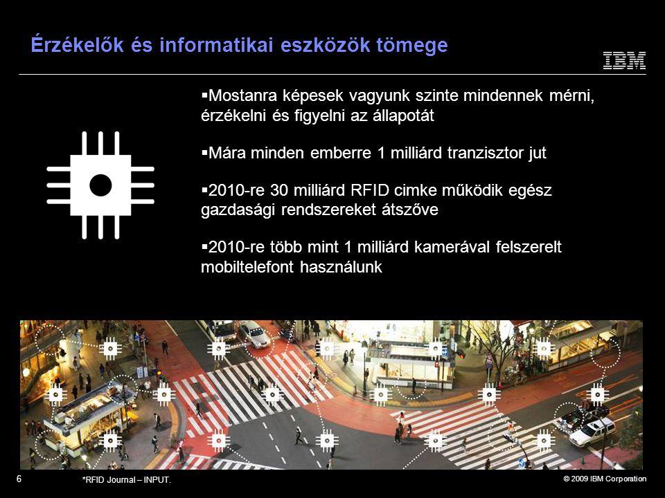"""© 2009 IBM Corporation  Az emberek, rendszerek és objektumok új módokon kapcsolódnak és kommunikálnak egymással  Mára az internetezők száma átlépte az 1 milliárdot és ez a szám 2011-re várhatóan 2 milliárdra nő  Rövidesen 1 milliárd eszköz fog összekapcsolódni egymással a világon, létrehozva a """"tárgyak internetét ."""