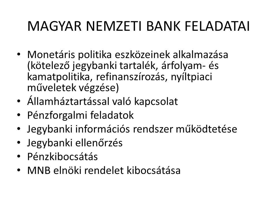 MAGYAR NEMZETI BANK FELADATAI • Monetáris politika eszközeinek alkalmazása (kötelező jegybanki tartalék, árfolyam- és kamatpolitika, refinanszírozás, nyíltpiaci műveletek végzése) • Államháztartással való kapcsolat • Pénzforgalmi feladatok • Jegybanki információs rendszer működtetése • Jegybanki ellenőrzés • Pénzkibocsátás • MNB elnöki rendelet kibocsátása
