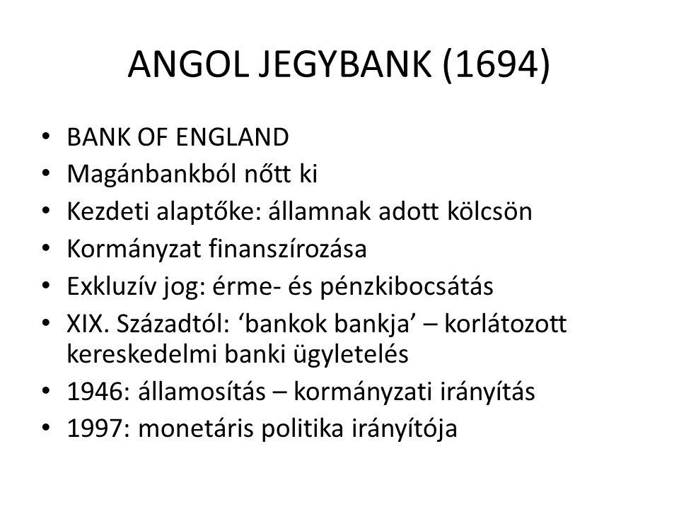 FRANCIA JEGYBANK (1800) • BANQUE DE FRANCE – bankjegy kibocsátás, de eredetileg csak Párizsban • Eredetileg rt, irányítója: Régensi tanács, 3 cenzor • 1808-1936: erősödő kormányzati befolyás: kormányzó • Államosítás: 1936 (kormány által kinevezett 12 tanácsos), 1945: korábbi magánrészvényesek hosszúlejáratú államkötvényeket kaptak • 1973, 1993: reformok, monetáris politika irányítója (kormány által kinevezett tanácsos, DE: nincs közvetlen kormány irányítási jog)
