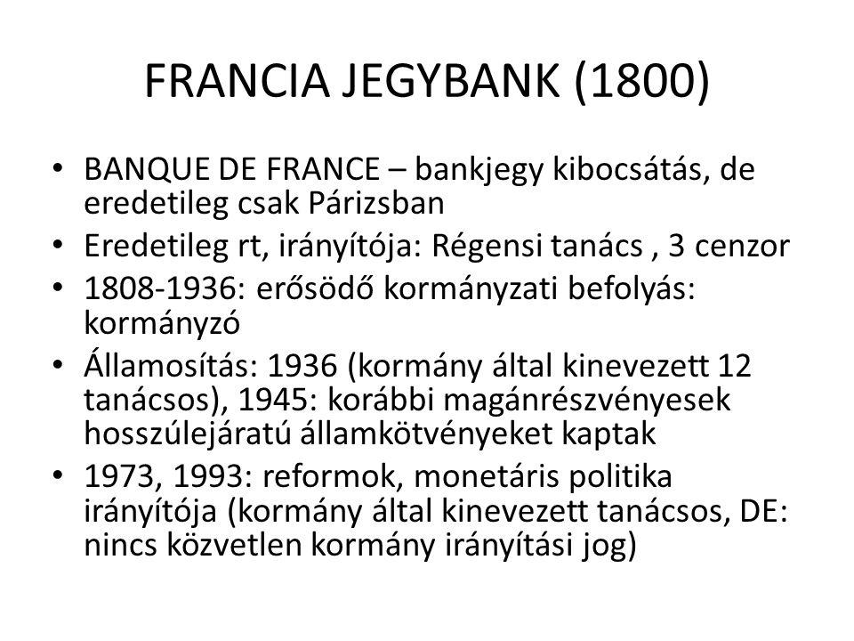 FRANCIA JEGYBANK (1800) • BANQUE DE FRANCE – bankjegy kibocsátás, de eredetileg csak Párizsban • Eredetileg rt, irányítója: Régensi tanács, 3 cenzor •