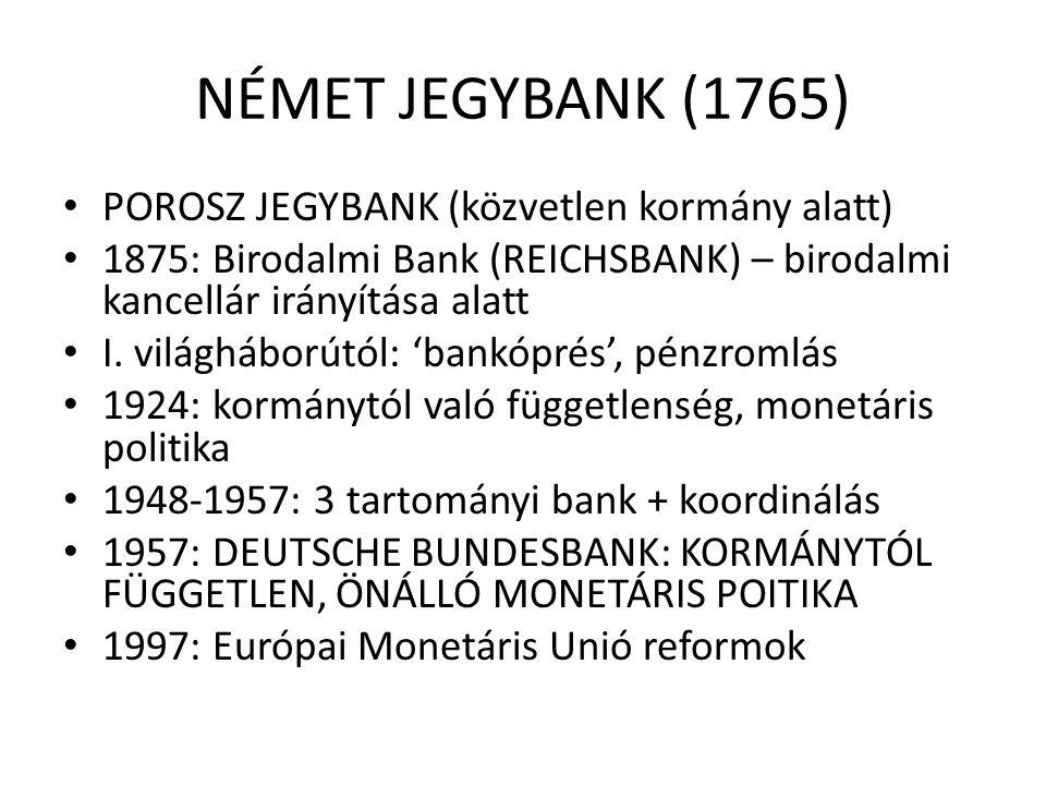 NÉMET JEGYBANK (1765) • POROSZ JEGYBANK (közvetlen kormány alatt) • 1875: Birodalmi Bank (REICHSBANK) – birodalmi kancellár irányítása alatt • I. vilá