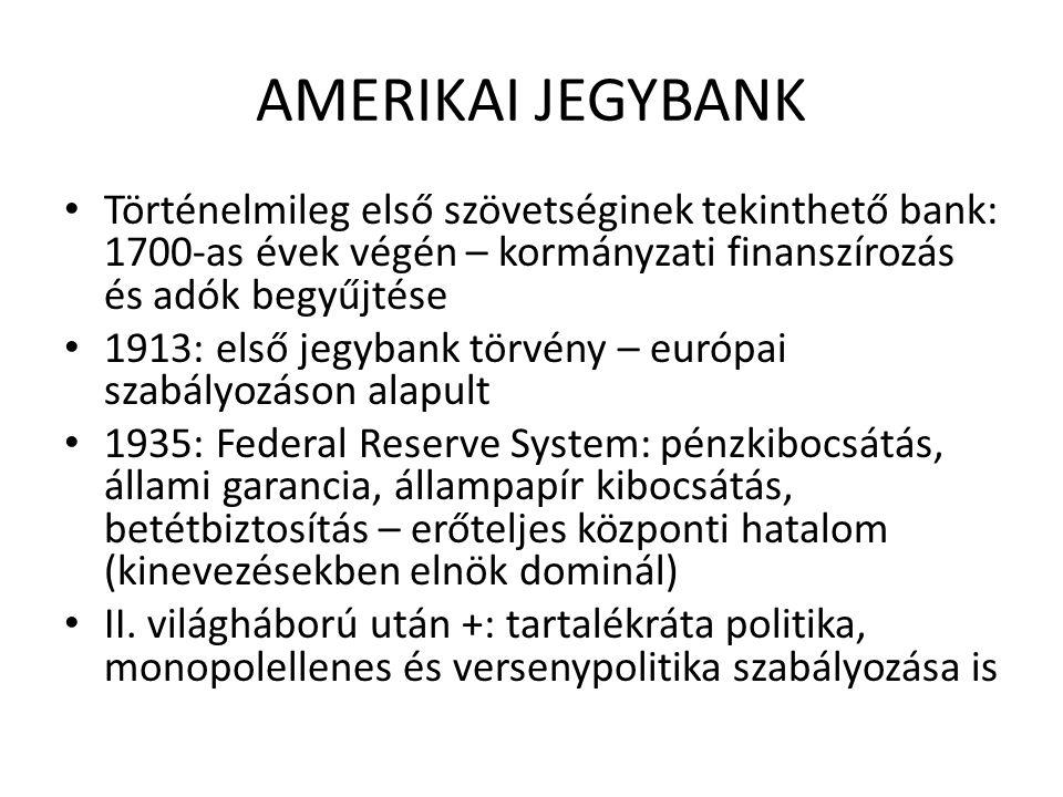 AMERIKAI JEGYBANK • Történelmileg első szövetséginek tekinthető bank: 1700-as évek végén – kormányzati finanszírozás és adók begyűjtése • 1913: első jegybank törvény – európai szabályozáson alapult • 1935: Federal Reserve System: pénzkibocsátás, állami garancia, állampapír kibocsátás, betétbiztosítás – erőteljes központi hatalom (kinevezésekben elnök dominál) • II.